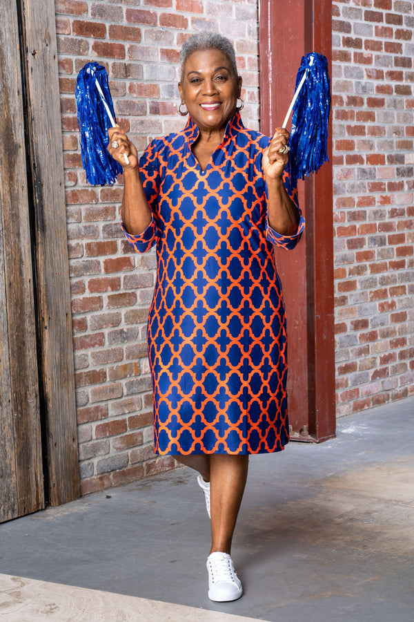 Coco Dress Bold Trellis Blue Orange DRESSES Katherine Way Collections