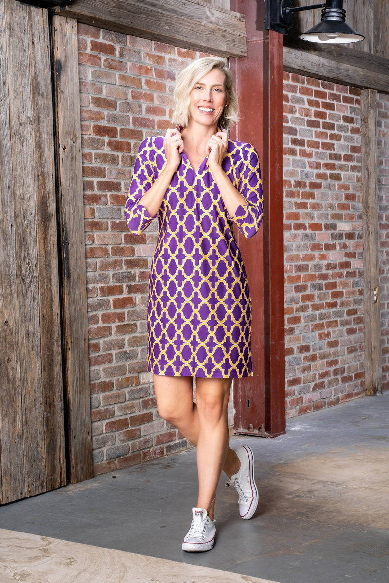 Coco Dress Bold Trellis Purple Gold DRESSES Katherine Way Collections