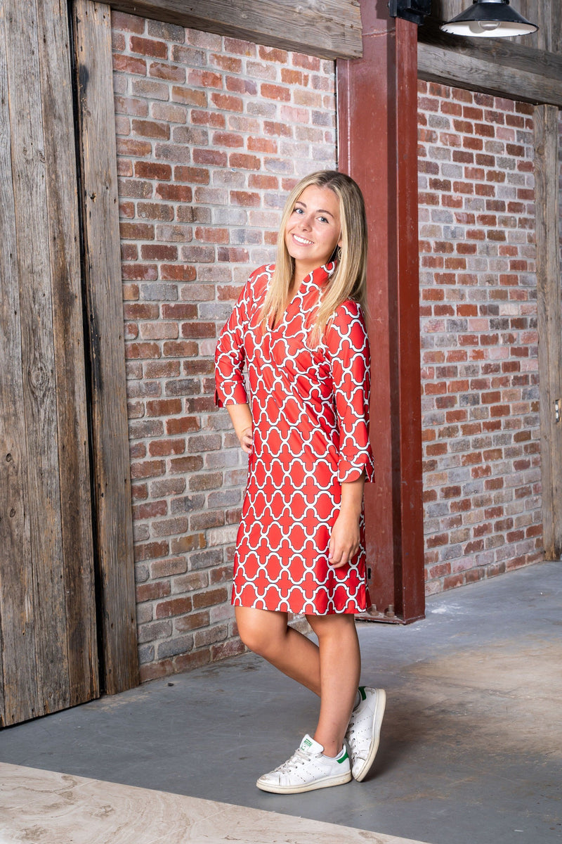 Coco Dress Bold Trellis Red Black DRESSES Katherine Way Collections