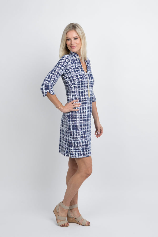 Coco Dress Plaid Dots Navy DRESSES Katherine Way Collections