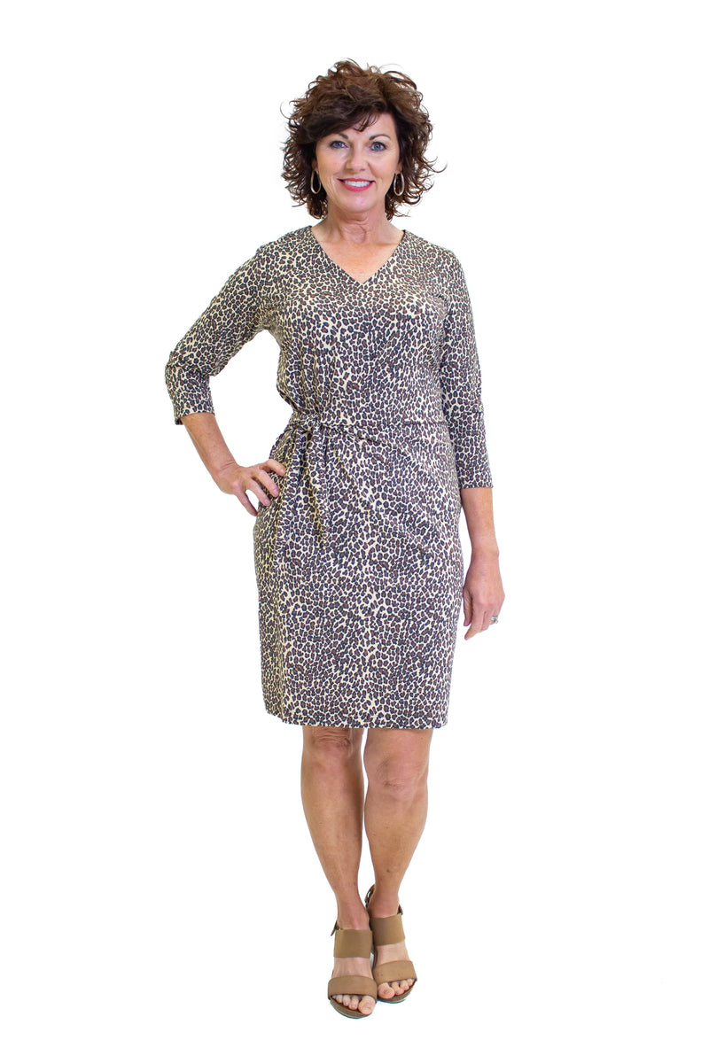 Coronado Dress Leopard Brown Tan DRESSES Katherine Way