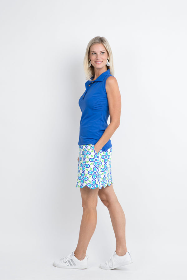 Delray Skort Fleur Royal Turquoise BOTTOMS Katherine Way Collections