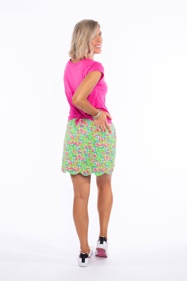 DELRAY SKORT PINK FLORAL ALL OVER BOTTOMS KATHERINE WAY