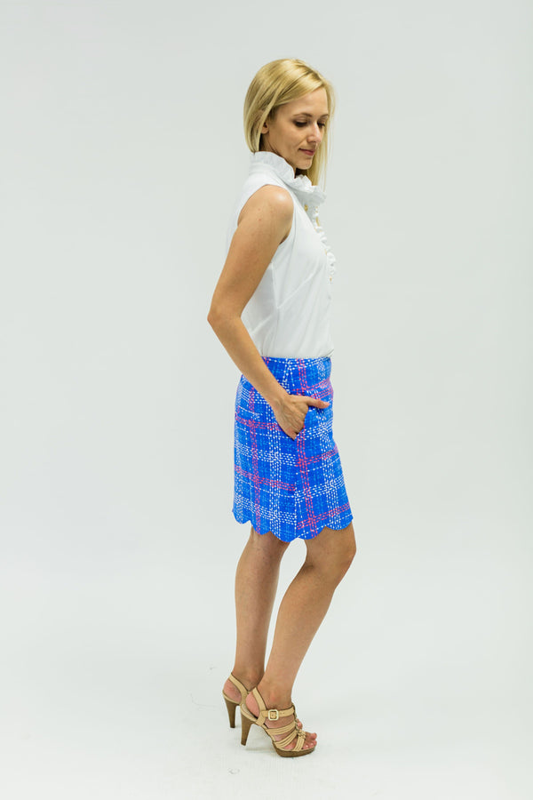 Delray Skort Plaid Dots Royal BOTTOMS Katherine Way Collections