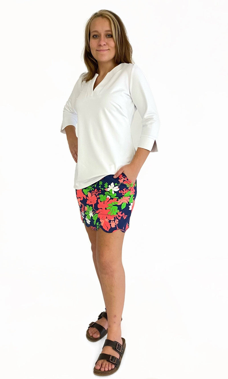 DELRAY SKORT WILDFLOWERS NAVY CORAL BOTTOMS KATHERINE WAY