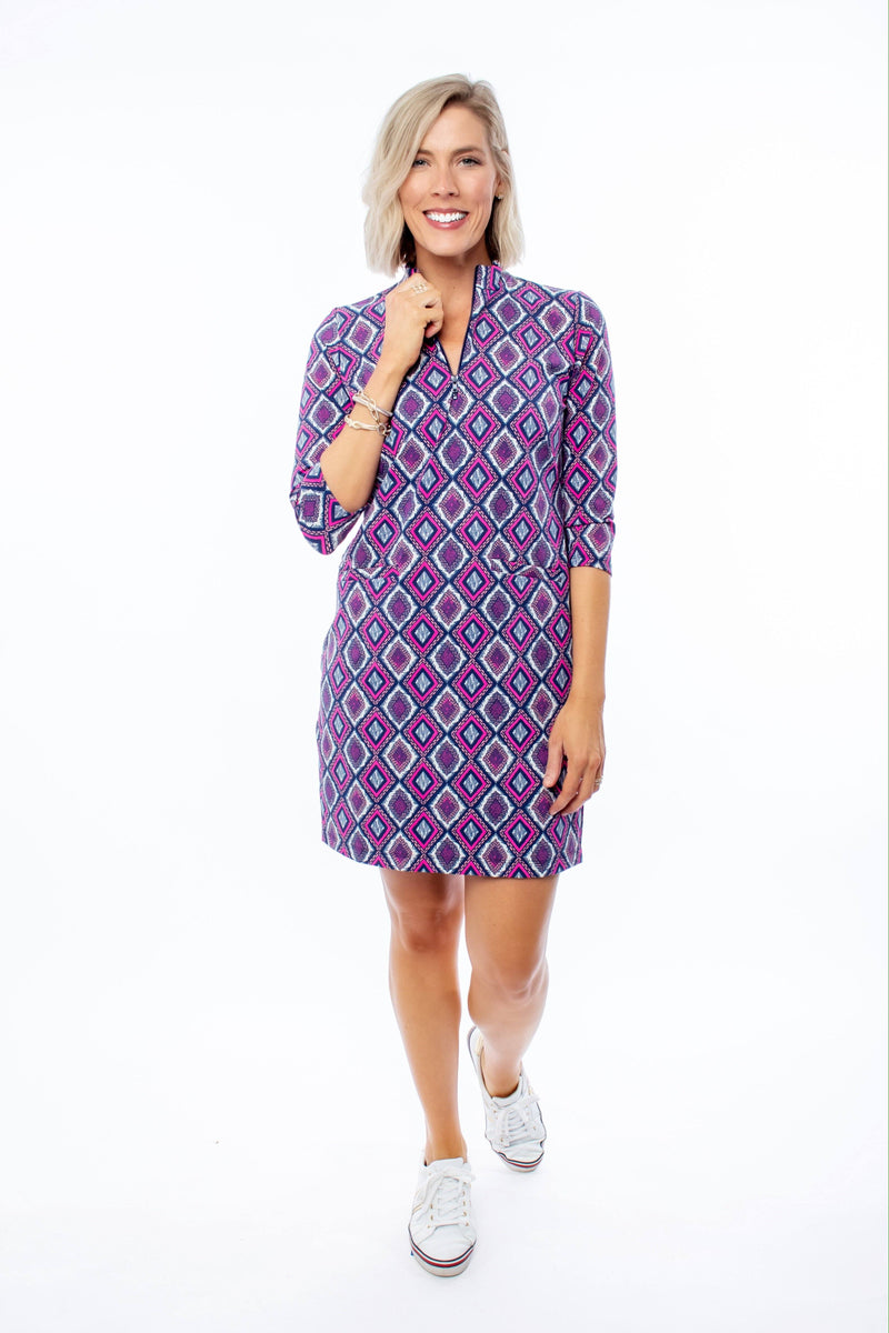 DORAL DRESS DIAMOND EMBROIDERY NAVY FLAMINGO DRESSES KATHERINE WAY
