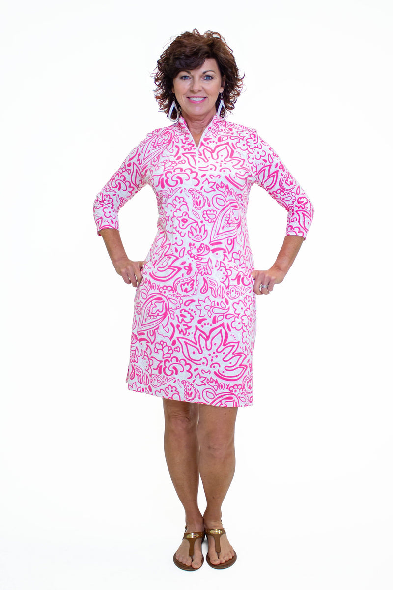 Doral Dress Floral Fun Pink DRESSES Katherine Way Collections