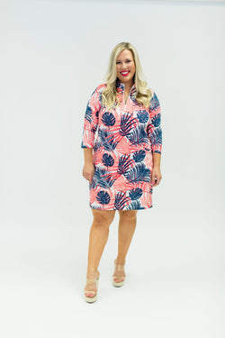 Doral Dress Hideaway Coral Navy DRESSES Katherine Way Collections Hideaway Coral Navy XS