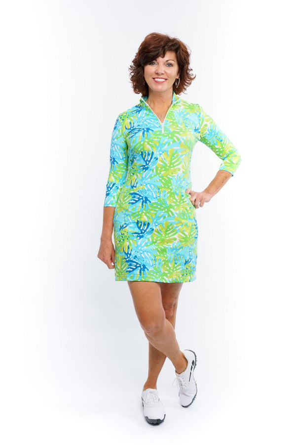 Doral Dress Philly Leaves Green DRESSES Katherine Way Collections