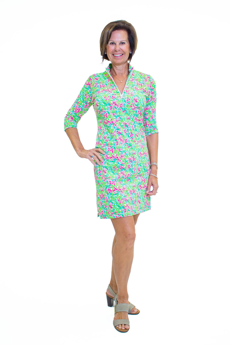 Doral Dress Pink Floral All Over DRESSES Katherine Way Collections