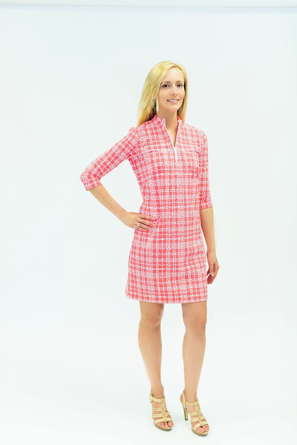 Doral Dress Plaid Dots Coral DRESSES Katherine Way Collections Plaid Dots Coral XS