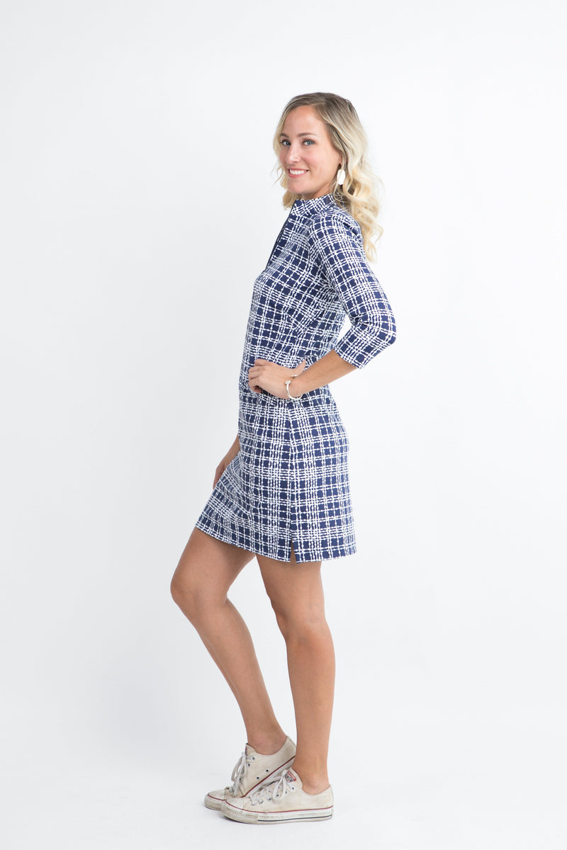 Doral Dress Plaid Dots Navy DRESSES Katherine Way Collections