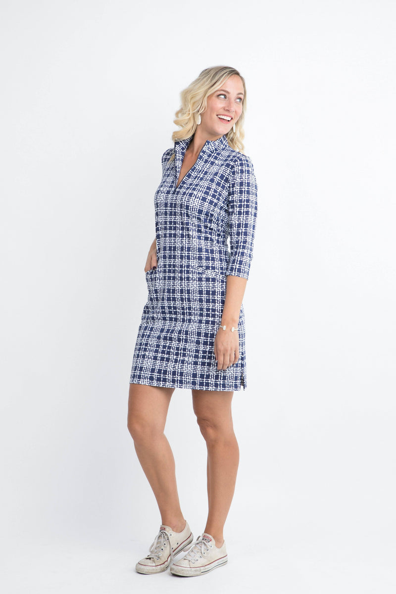 Doral Dress Plaid Dots Navy DRESSES Katherine Way Collections Plaid Dots Navy XS