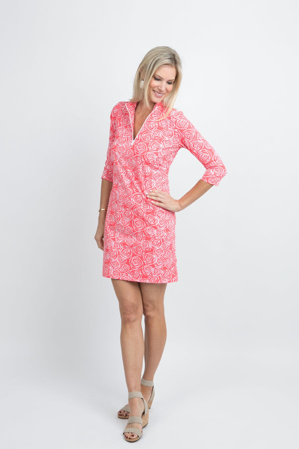 Doral Dress Roses Coral DRESSES Katherine Way Collections Roses Coral XS