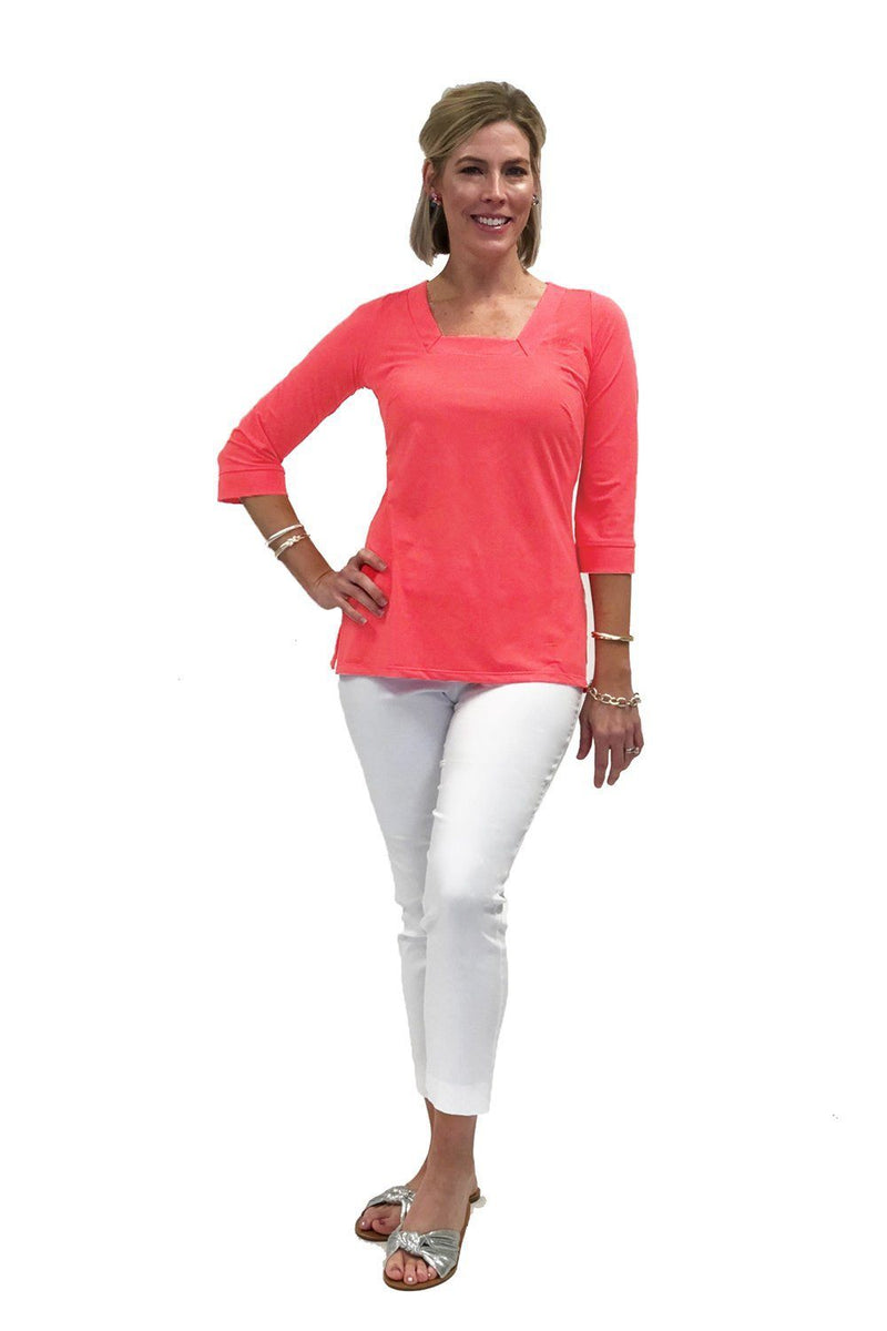 Easton Tunic Coral TOPS Katherine Way Collections Coral XS