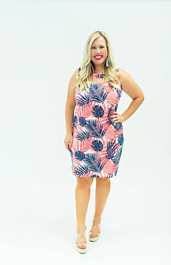 Folly Dress Hideaway Coral Navy DRESSES Katherine Way Collections Hideaway Coral Navy XS