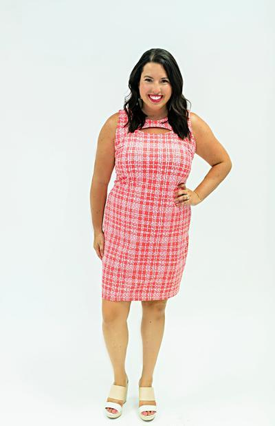Folly Dress Plaid Dots Coral DRESSES Katherine Way Collections Plaid Dots Coral XS