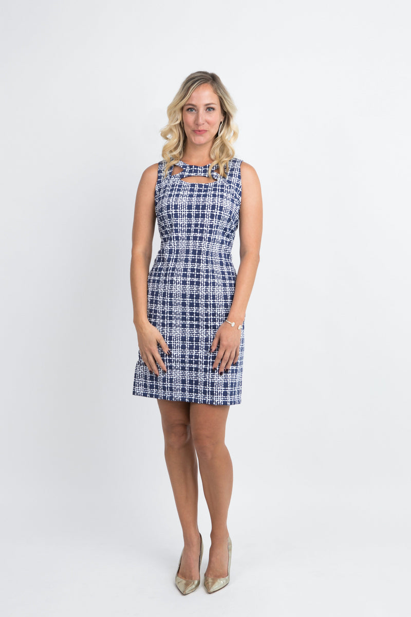 Folly Dress Plaid Dots Navy DRESSES Katherine Way Collections