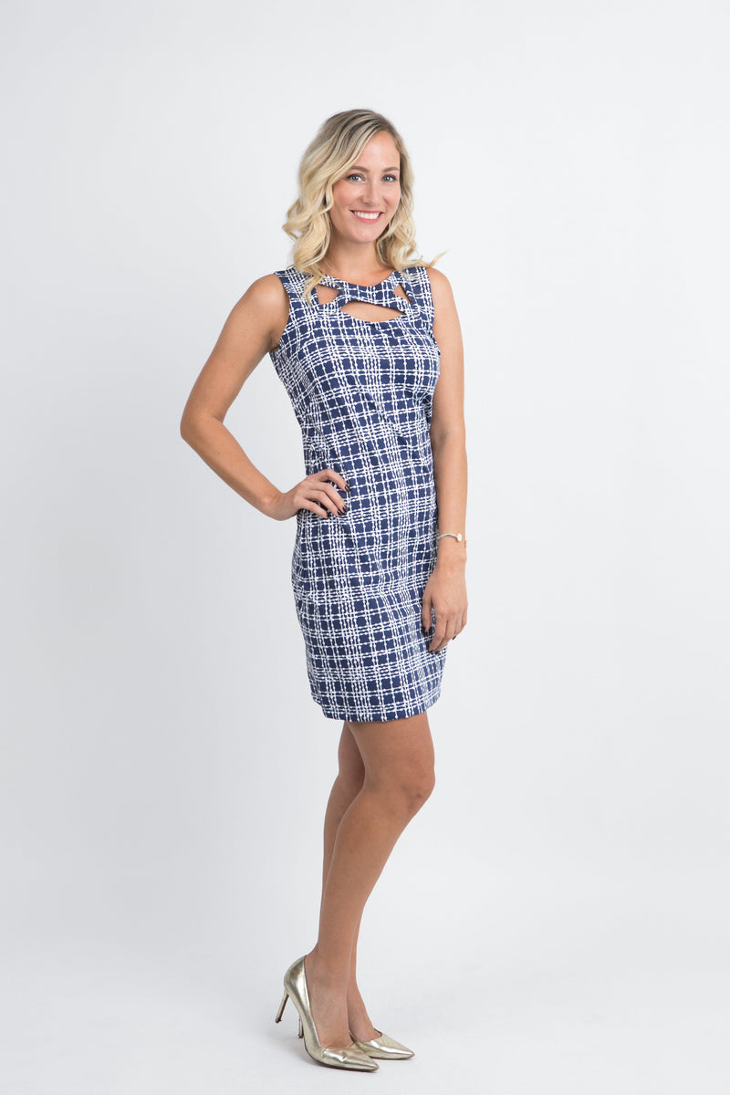 Folly Dress Plaid Dots Navy DRESSES Katherine Way Collections Plaid Dots Navy XS