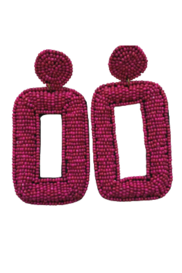 FUCHSIA BEADED RECTANGLE EARRINGS JEWELRY GOLDEN STELLA