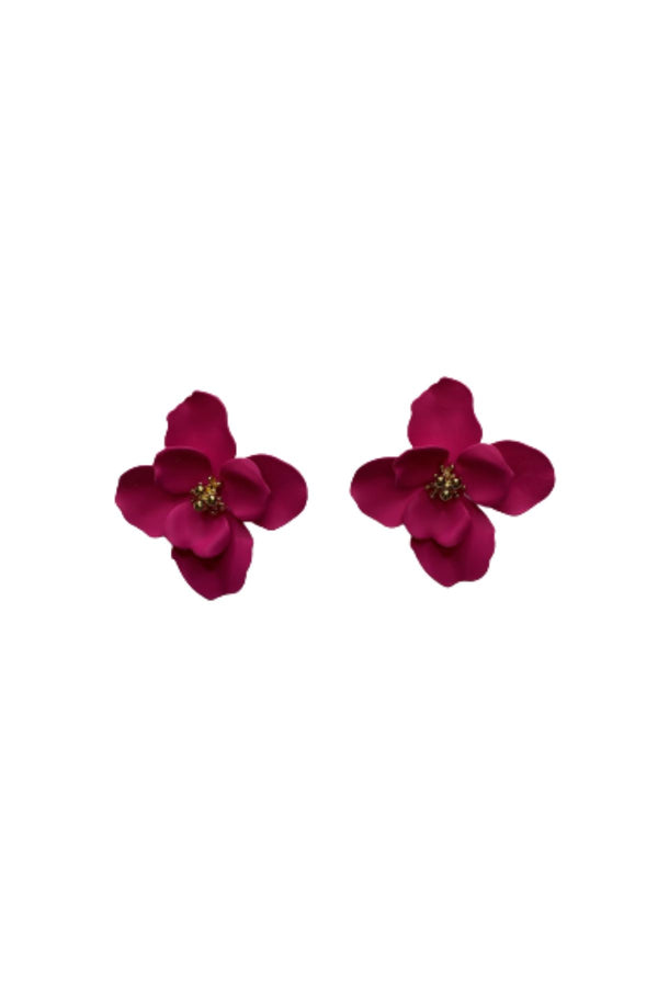FUCHSIA FLOWER EARRINGS JEWELRY GOLDEN STELLA
