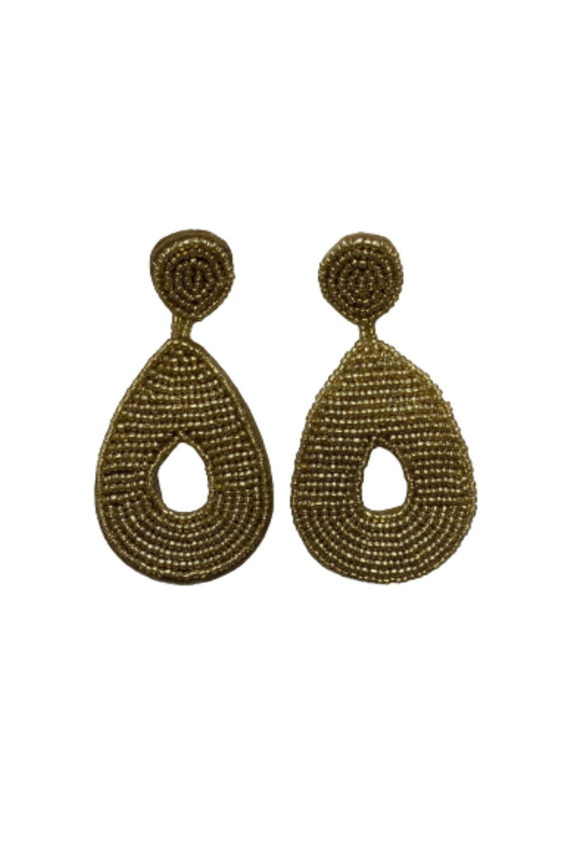GOLD SEED BEAD TEARDROP EARRINGS JEWELRY GOLDEN STELLA