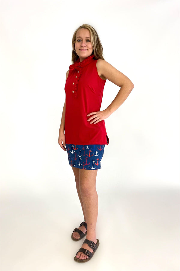 KIAWAH SKORT ANCHORS RED NAVY BOTTOMS KATHERINE WAY