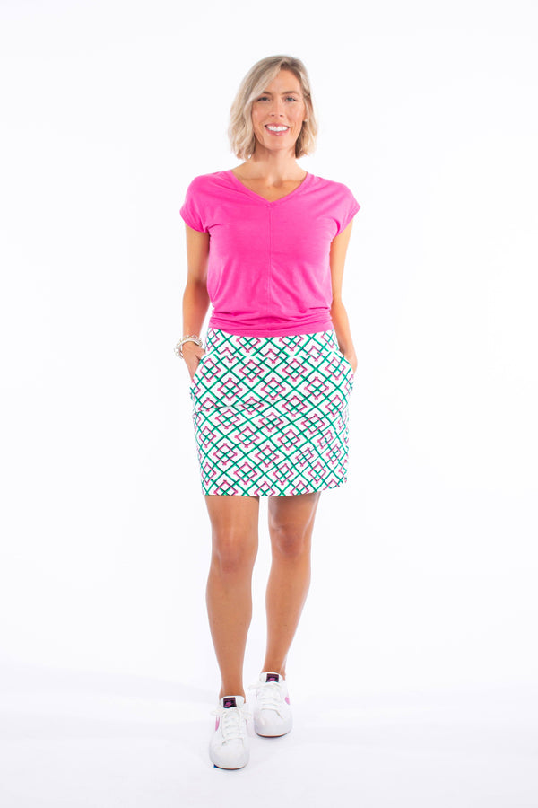 KIAWAH SKORT BAMBOO FENCE PINK BOTTOMS KATHERINE WAY