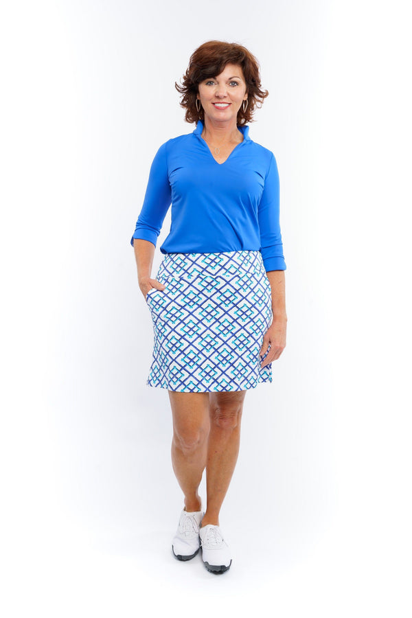 Kiawah Skort Bamboo Fence Royal BOTTOMS Katherine Way Collections