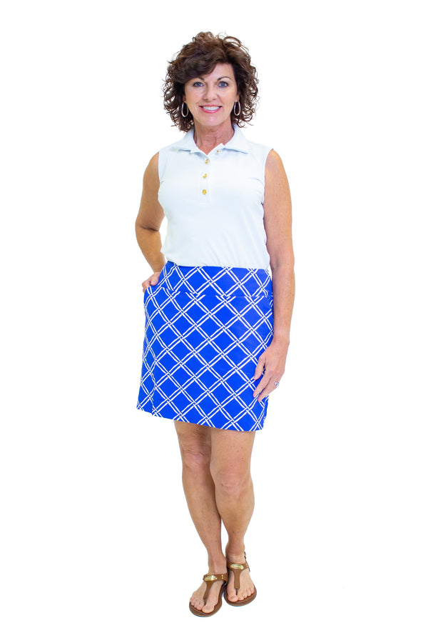 Kiawah Skort Bamboo Window Royal BOTTOMS Katherine Way Collections
