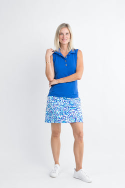 Kiawah Skort Floral Fun Royal BOTTOMS Katherine Way Collections