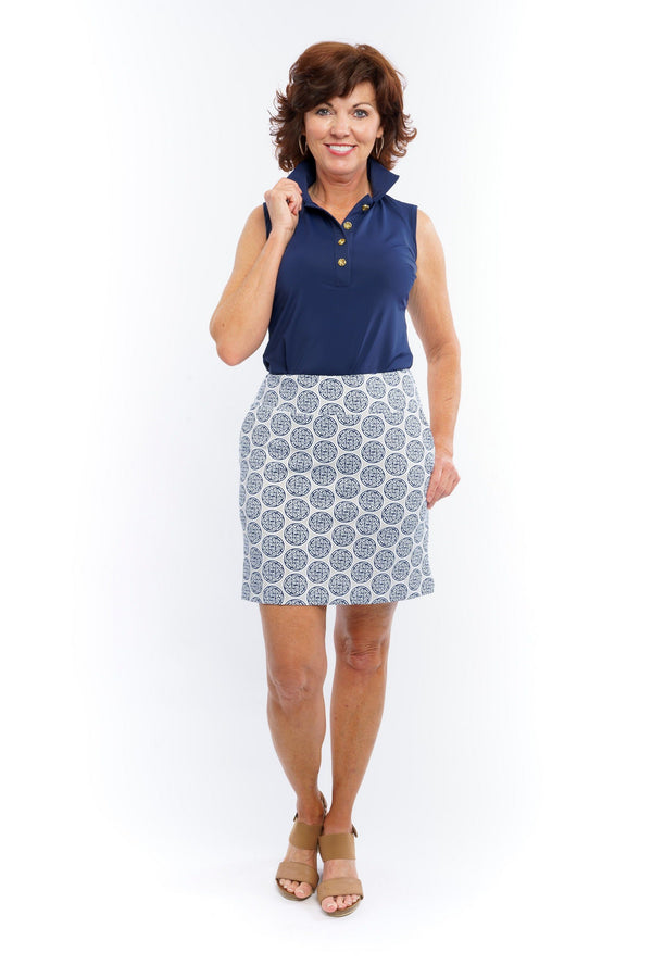 Kiawah Skort Medallion Navy Grey BOTTOMS Cardan Designs