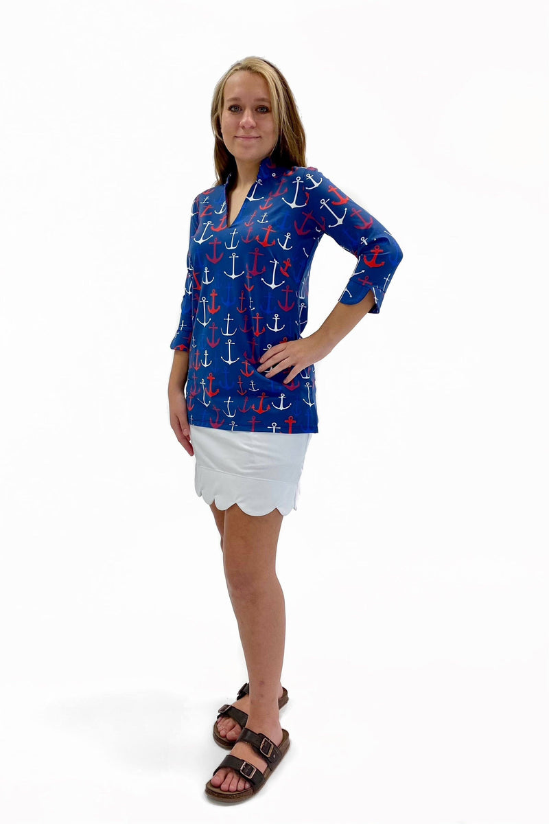 LARGO TUNIC ANCHORS RED NAVY TOPS KATHERINE WAY