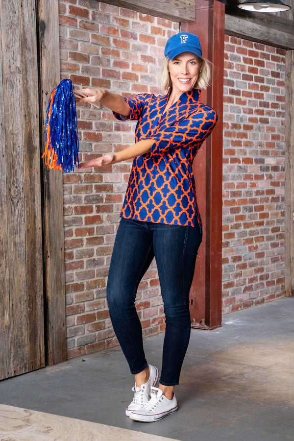 Largo Tunic Bold Trellis Blue Orange TOPS Katherine Way Collections