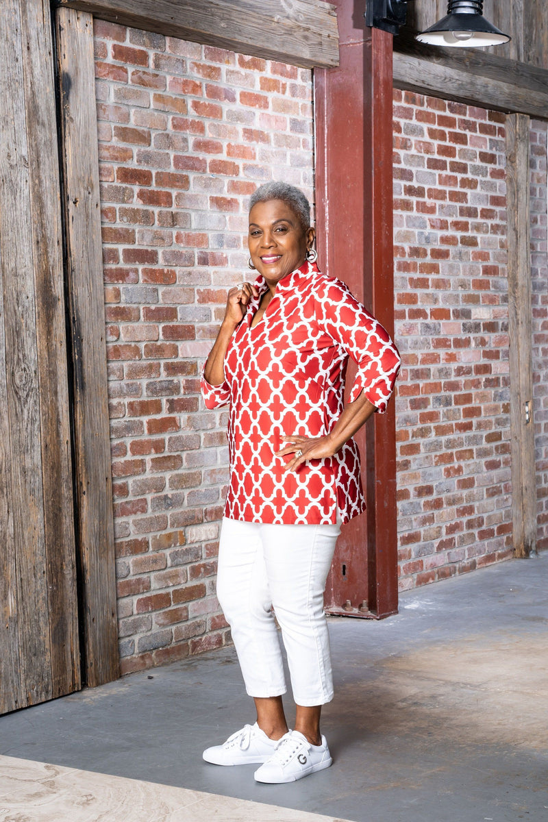 Largo Tunic Bold Trellis Crimson TOPS Katherine Way Collections