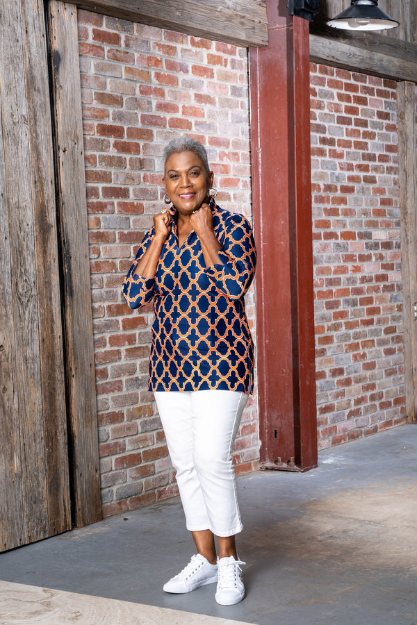 Largo Tunic Bold Trellis Navy Orange TOPS Katherine Way Collections