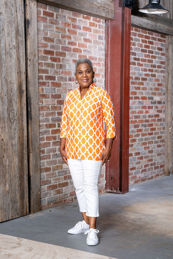 Largo Tunic Bold Trellis Orange TOPS Katherine Way Collections