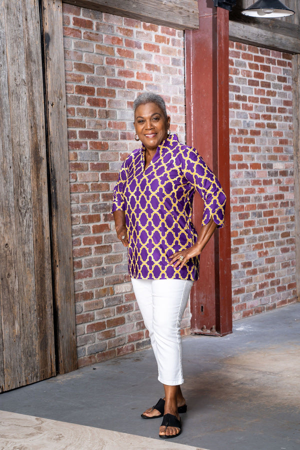 Largo Tunic Bold Trellis Purple Gold TOPS Katherine Way Collections