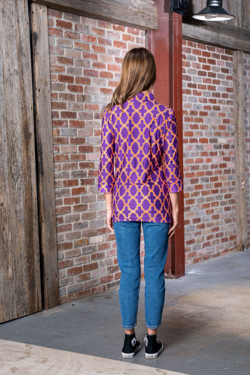 Largo Tunic Bold Trellis Purple Orange TOPS Katherine Way Collections