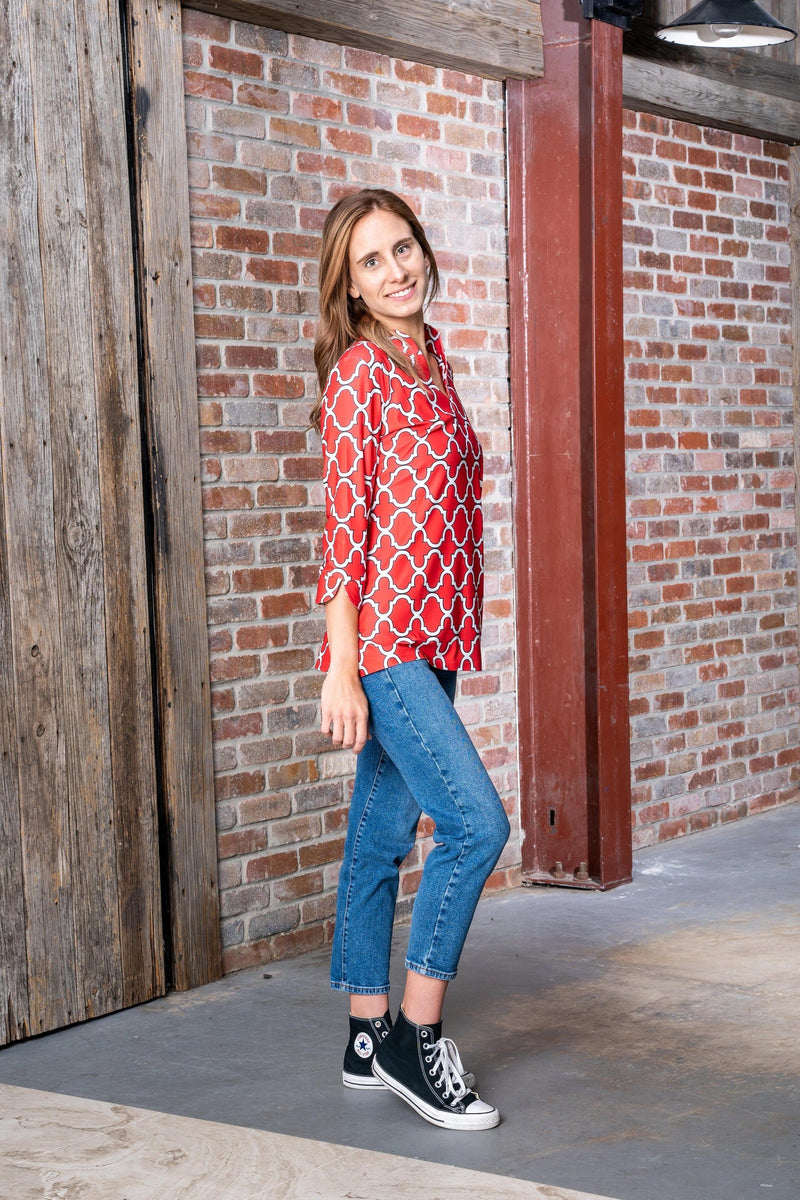 Largo Tunic Bold Trellis Red Black TOPS Katherine Way Collections
