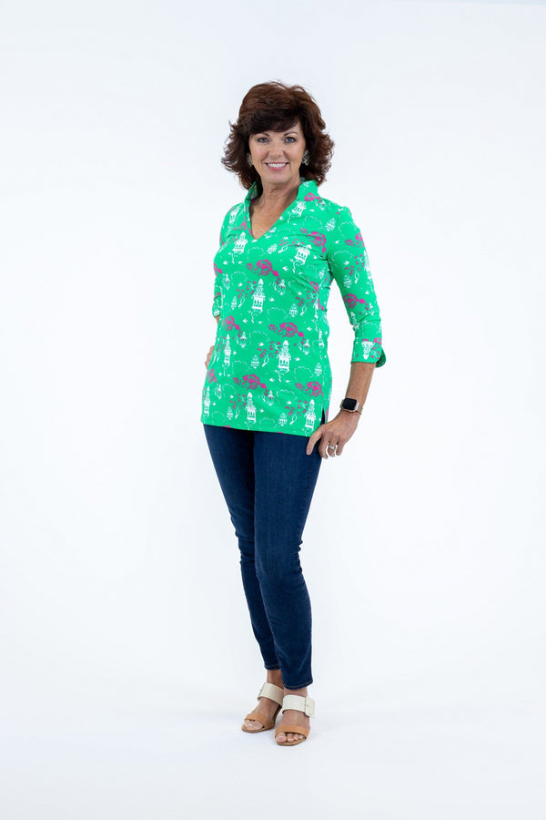 Largo Tunic Chinese Pagoda Green TOPS Katherine Way Collections