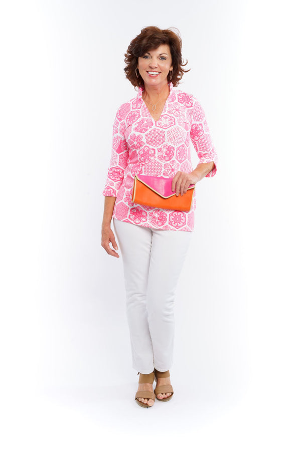 LARGO TUNIC CHINESE PAPER PINK TOPS KATHERINE WAY
