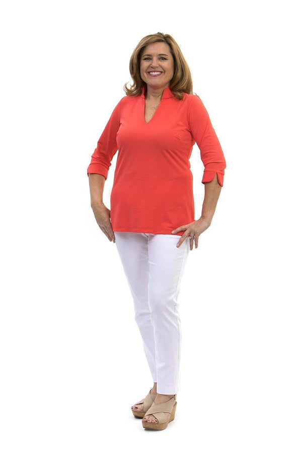 Largo Tunic Coral TOPS Katherine Way Collections Coral XS