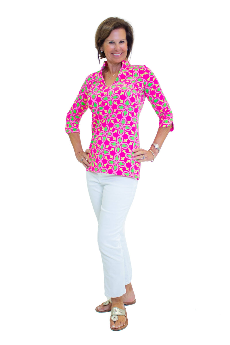 Largo Tunic Fleur Geranium Lime TOPS Katherine Way Collections
