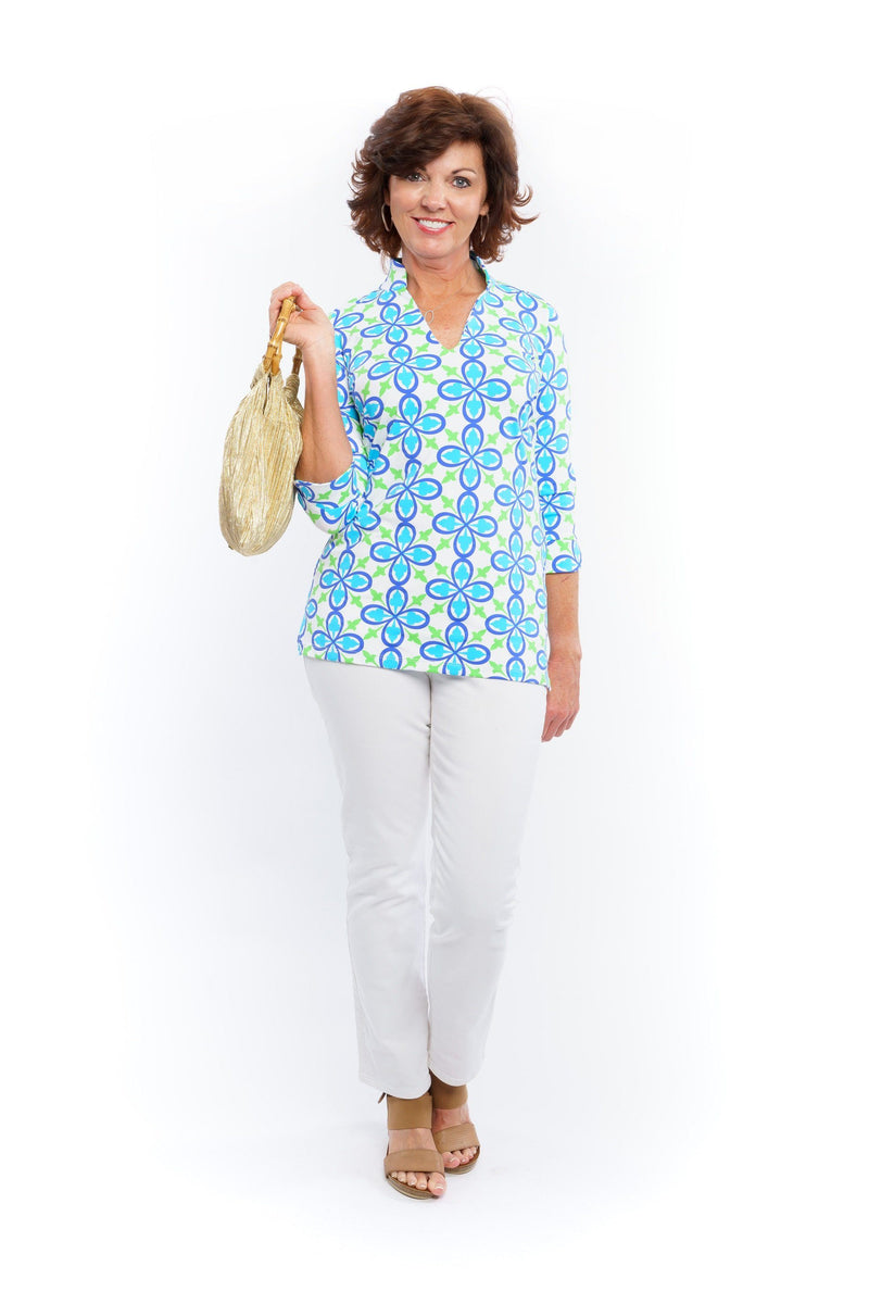 Largo Tunic Fleur Royal Turquoise TOPS Katherine Way Collections