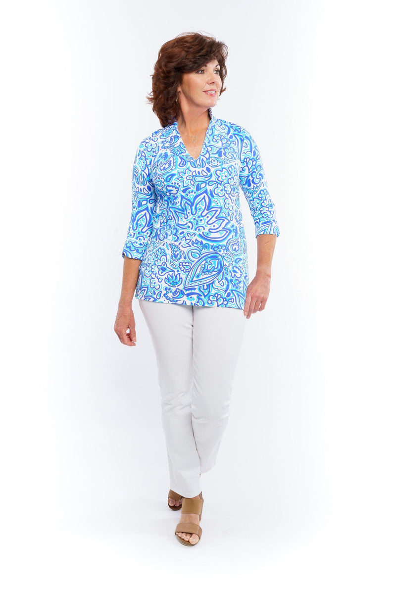 Largo Tunic Floral Fun Royal TOPS Katherine Way Collections