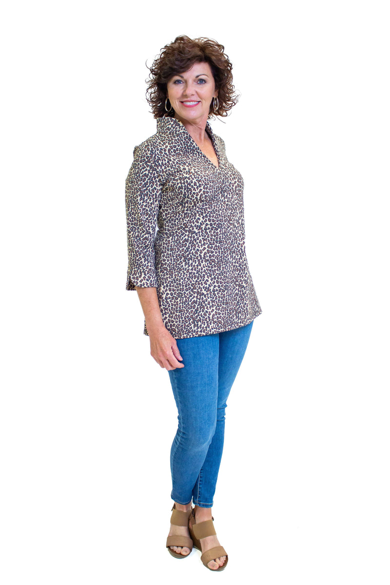 Largo Tunic Leopard Brown Tan TOPS VoMax GDMC LLC
