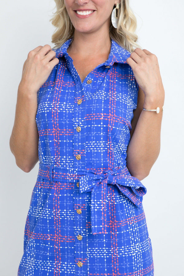 Napa Dress Plaid Dots Royal DRESSES Katherine Way Collections
