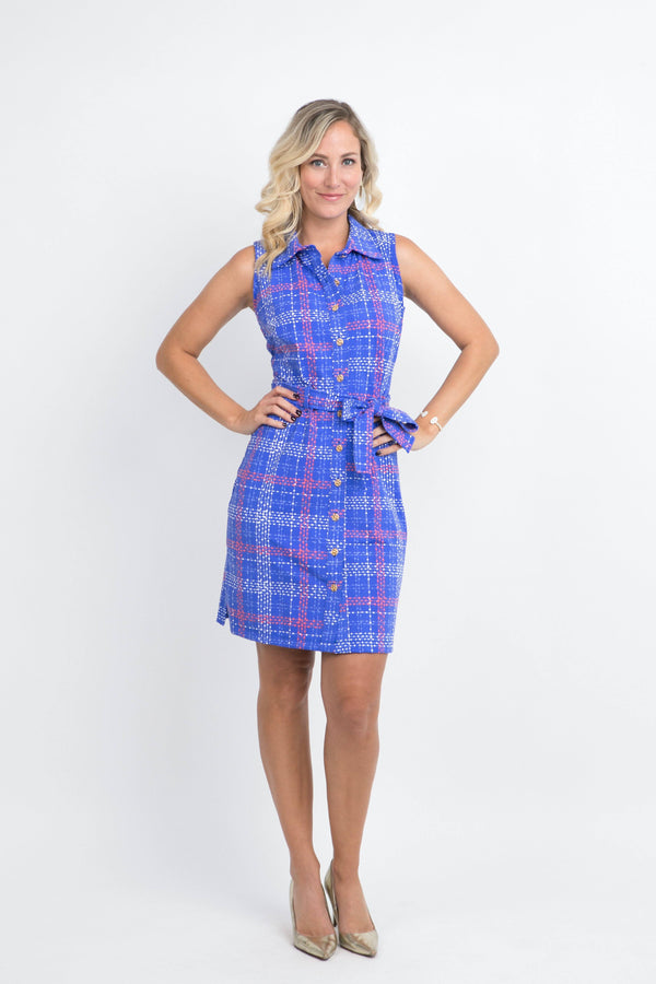Napa Dress Plaid Dots Royal DRESSES Katherine Way Collections Plaid Dots Royal XS