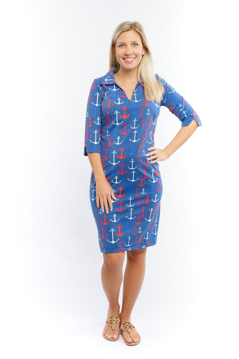 Nola Dress Anchors Red Navy DRESSES Katherine Way Collections